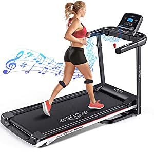 DR.GYMlee Foldable 3 Manual Incline 280LB Weight-Capacity Smart Treadmill, Easy Assembly Electric Motorized Running Machine for Home Use with LCD Screen/Heart Rate Monitor/Phone Cup Holder