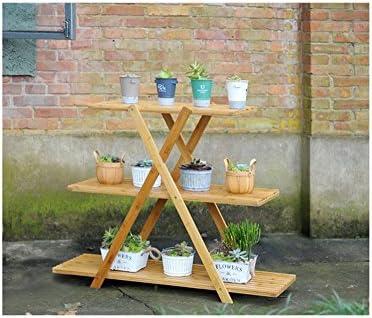 CivilWeaEU- Porte-fleurs en intérieur Salon en bois massif balcon suspendu panier fond de pot de fleurs étagère en pot pliante -Tablette