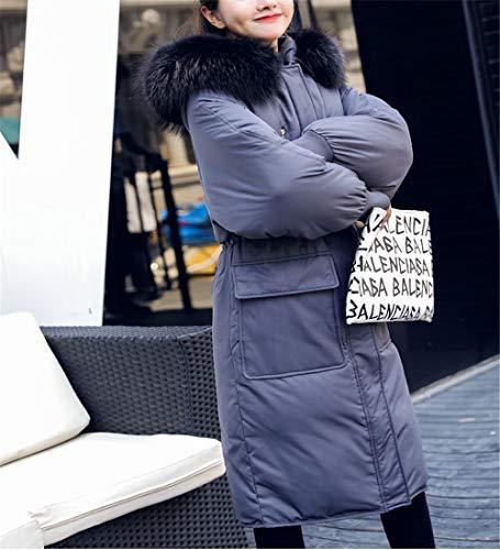 Dama Con Lqyrf Gran ~ Capa Y Pato Cintura 80 Poliéster Pic Abajo Blanco Femenina Capucha Piel Gruesa Gris As Invierno Cuello Chaqueta Larga 76 De Fibra Bolsillo HdWgrqdx