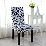 uxcell® Stretchy Dining Chair Cover Short Chair Covers Washable Protector Seat Slipcover For Wedding Party Restaurant Banquet Home Decor (White + Black)