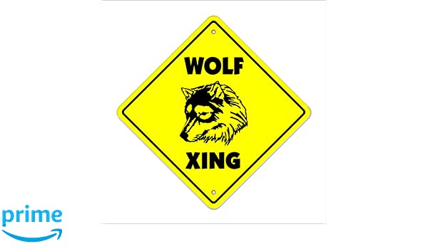 """Wolf Crossing Sign Zone Xing 20/"""" new road wolves grey red hunters ranch wild"""