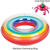 Burke 35.4 inch Giant Rainbow Swim Ring Inflatable Pool Float Summer Swimming Outdoor Party Beach Toys with a Crabs Inflatable Drink Cup for Adults and Teens