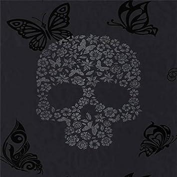 Muriva   Papier Peint Noir/Argent Tête de Mort Papillons et Fleurs
