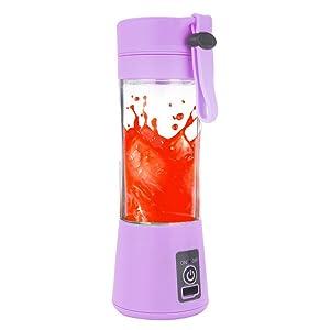 Kariwell Juice Cup, Personal Glass Smoothie Blender 380ml USB Electric Fruit Juicer Handheld Smoothie Maker Juice Cup