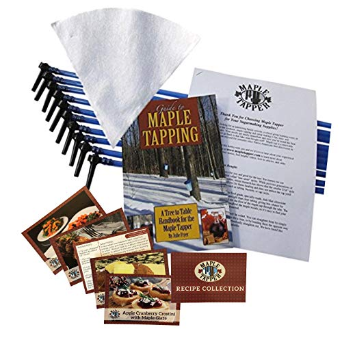 "Maple Tree Tapping Kit - Includes 5/16"" Tree Saver Taps Spiles + 3-Foot Drop Line Tubes (Pack of 10), 1 Quart Sap Filter, and 80 Page Fully Illustrated Guide to Maple Tapping Book"