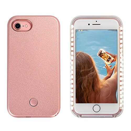Wellerly iPhone 7 Case, iPhone 8 case, LED Illuminated Selfie Light Cell Phone Case Cover [Rechargeable] Light Up Luminous Selfie Flashlight Case for iPhone 7 / iPhone 8 4.7inch (Rose Gold) by Wellerly (Image #1)