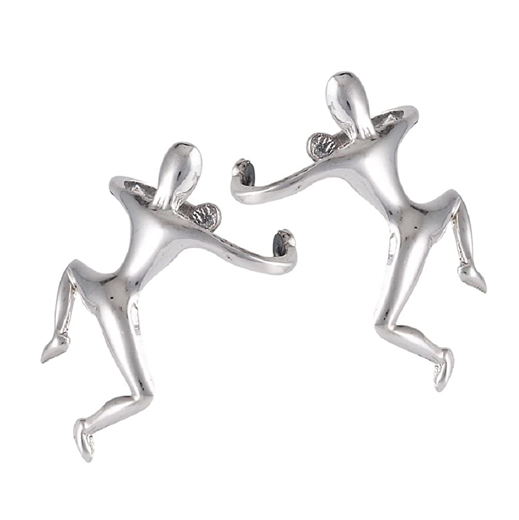.925 Sterling Silver Climbing Man Cuff Wrap Earring Pair New Men Women UK_B01750PJVM