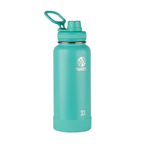 Takeya 51028 Actives Insulated Stainless Steel Water Bottle with Spout Lid, 32 oz, Teal