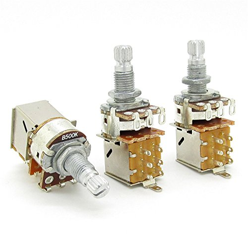 B500K Push Pull Potentionmeter Volume Tone Shaft Switch Pots Guitar Bass Pack Of 3