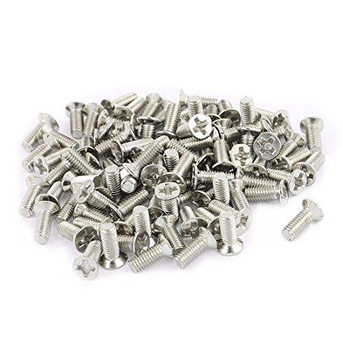 uxcell 100Pcs M3x8mm 304 Stainless Steel Flat Head Phillips Machine Screws Silver Tone (Head Flat M3x8mm)