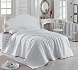 LaModaHome Colors Coverlet, 100% Cotton - Plain White, 1 Colored, Simple - Size (102.4'' x 86.6'') for King Bed