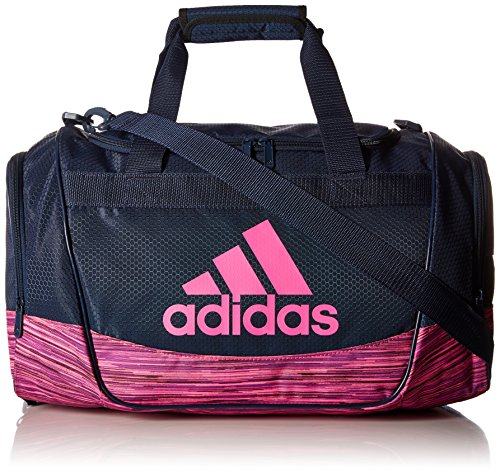 adidas Defender II Small Duffel Bag, Small, Collegiate Navy/Shock Pink Looper
