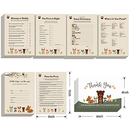Baby Shower Games - Set of 5 Activities - (25 Cards Each 151 Total ), Woodland Animals Baby Shower Supplies Invitation Card &Thank You Card Pack for Boy, Girl - Fun Gender Reveal Part