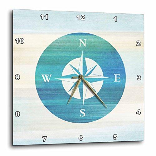 3dRose DPP_152107_2 Aqua Nautical Compass Beach Theme Art Wall Clock, 13 by 13-Inch