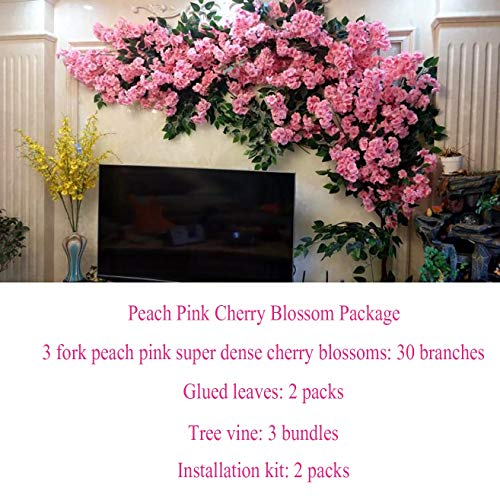 LHKAVE Artificial Cherry Blossoms Handmade Flower Indoor Outdoor Home Party Wedding Wall Home Decor Fake Vines Flowers,D