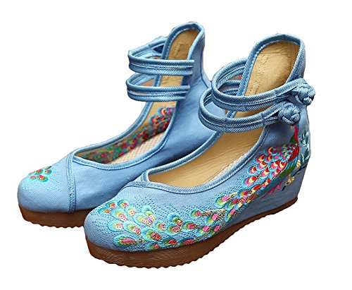 Sole Dancing Traditional Chinese Blue AvaCostume Oxfords Shoes Women Casual Breading Phoenix Embroidered OUnp0qwp