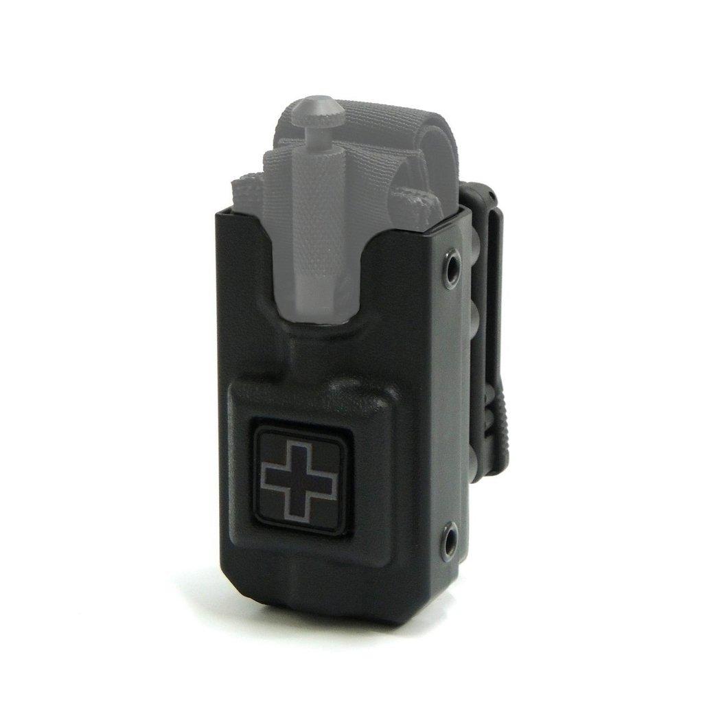 RIGID SOFTT Wide Tourniquet Case, Belt (Tek-Lok) Attachment, Black with GRAY CROSS (Tourniquet Not Included)
