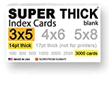 3000 SUPER THICK 3x5, 14pt, blank, heavyweight index cards, note cards, postcards, flash cards in discounted bulk