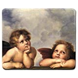 dealzEpic - Art Mousepad - Natural Rubber Mouse Pad with Famous Fine Art Painting of Angels by Raphael(from The Sistine Madonna) - Stitched Edges - 9.5x7.9 inches