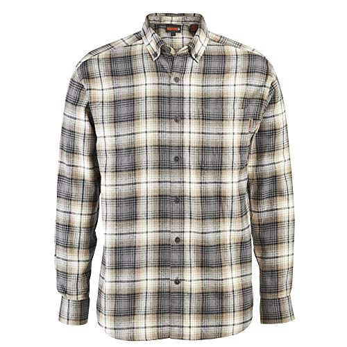 Wolverine Men's Hammond Long Sleeve Flannel Shirt, Khaki Plaid, Medium
