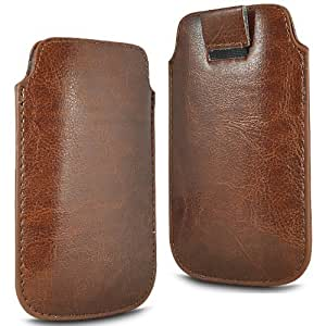 TWIN VALUE PACK - 2 x BROWN SUPERIOR PU SOFT LEATHER PULL FLIP TAB CASE COVER POUCH FOR ORANGE STOCKHOLM BY N4U ACCESSORIES