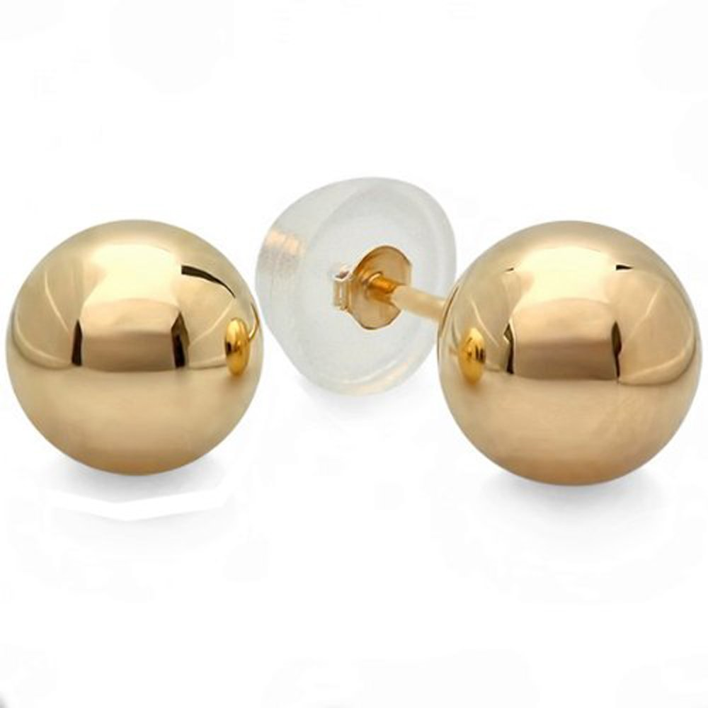 Dazzlingrock Collection 14k Ball 9mm Stud Earrings with Silicone covered Gold Pushbacks, Yellow Gold