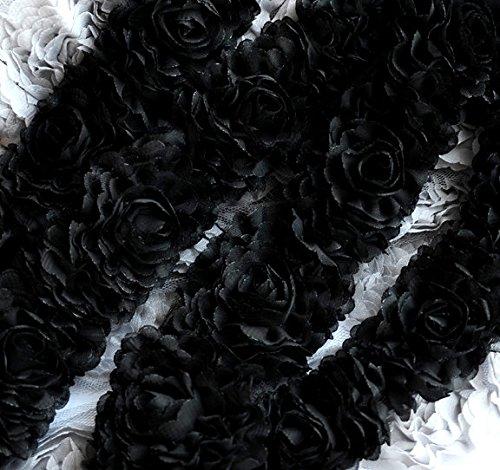 2 Yards Chiffon Rose Lace Trim Applique Black Bridal Wedding Camellia Ruffled Flower Hair Comb 3D LA021 -