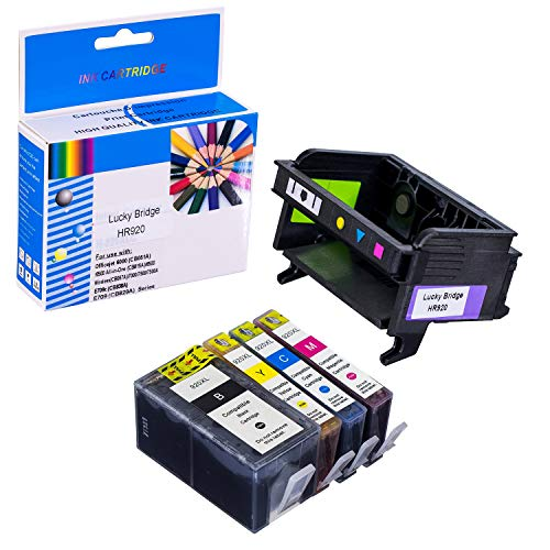LKB 1 PK HR920 Printhead and 1 Set of Ink Cartridge Compatible for HP6000 6500 6500A 7000 7500A Printers(Printhead and Cartridge)-USA