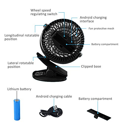 Per USB Rechargeable Mini Fan With Clip 5.91In Desk Fans 360° Rotation Adjustable Wind Speed For Home Office Stroller Portable-With 2600mAh Battery by Per (Image #3)