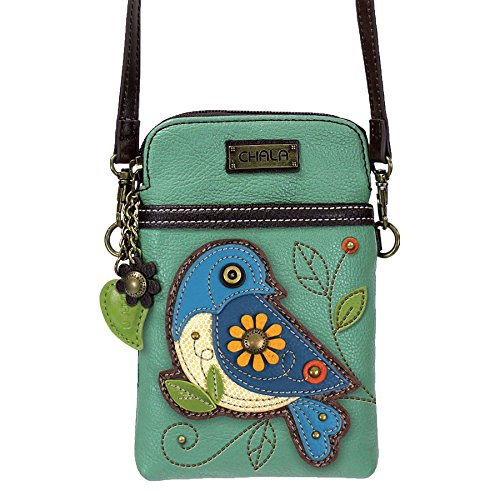 Chala Crossbody Cell Phone Purse-Women PU Leather Multicolor Handbag with Adjustable Strap - Bluebird - Teal (Phone Cell Charm Flower)