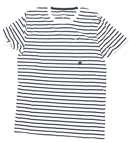Hollister. Men's Tee Graphic T-Shirt - V Neck - Crew Neck. (White Blue Stripes, X-Large)