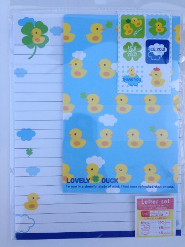 Lovely-Duck-Rubber-Ducky-Cute-Japanese-Writing-Paper-Stationery-with-Stickers-and-Envelopes