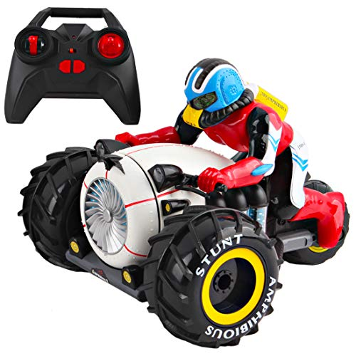 deAO Motorcycles Stunt Car High Speed Racing Car 360° Spins Rolling Radio Control Vehicle with LED Light