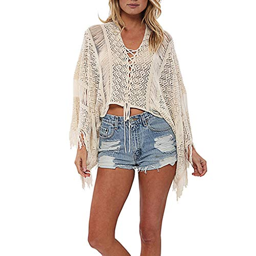 TANLANG Women's Tees Loose Knitted V Neck Long Sleeve Pullover Long Sweater Tops Bat Shirt Sun Protection Cover up Blouse Beige