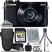 Canon PowerShot G9 X Digital Camera (Black) + Backup Battery + 16GB Class 10 Memory Card + Card Reader + Tripod + Case + Deluxe Cleaning Kit - International Version