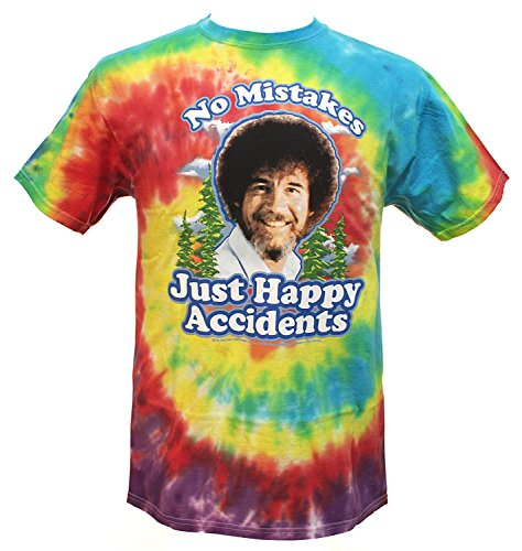 Bob Ross Mistakes Just Happy Accidents Men's Tie Dye T-Shirt (X-Large)