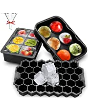 Ice Cube Tray 3 Pack Silicone Ice Cube Trays with Lids Sphere Square Honeycomb Ice Cube Mold Flexible Reusable BPA Free Ice Trays for Whiske, Ice Cube Mould for Family, Party and Bars