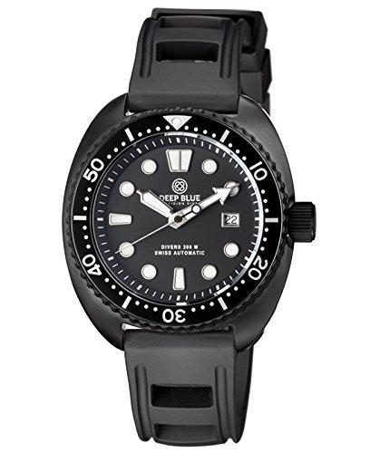 Deep Blue MILITARY DIVER 300 Swiss Automatic watch 44mm PVD Blk Bezel Black (Dial Pvd Bezel)