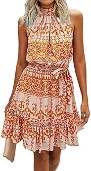 BTFBM Women Floral Dresses Casual Summer Sleeveless Halter Neck Ruffle Belt Boho Polka Dot Leopard Print Sun S