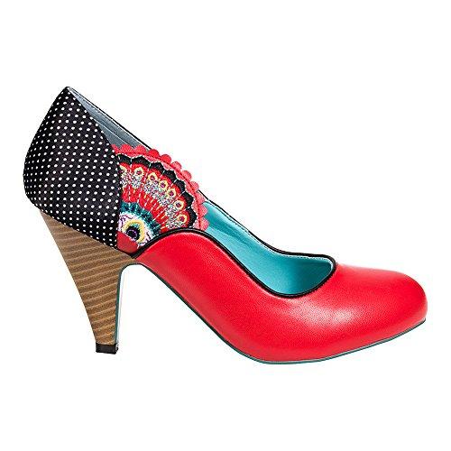Banned Sway Chaussures A Talons Haut Rétro A Pois & Plume De Paon (Rouge)