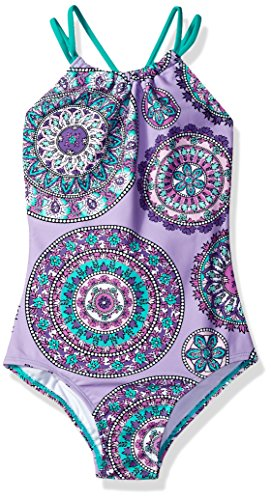 Kanu Surf Little Girls' Jasmine Halter Beach Sport 1-Piece Swimsuit, Purple, 5 (Suits Surf)