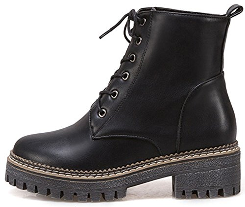 Easemax Women's Comfy Lace Up Round Toe Mid Block Heeled Ankle High Martin Booties Black NNevumLm