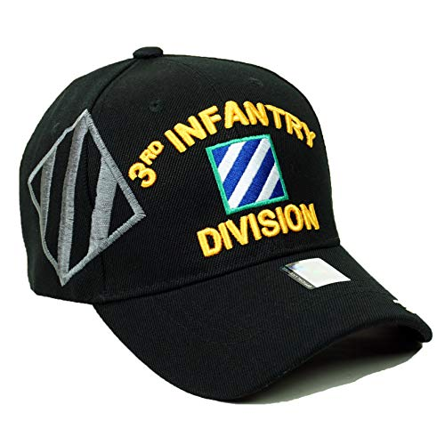 Us 3rd Infantry Division - U.S. Military Official Licensed Embroidery Hat Army Navy Veteran Division Baseball Cap (3rd Infantry- Black)