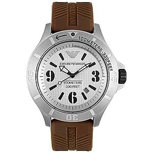 Armani AR0628 - Reloj para hombre con correa de caucho, color plateado / gris