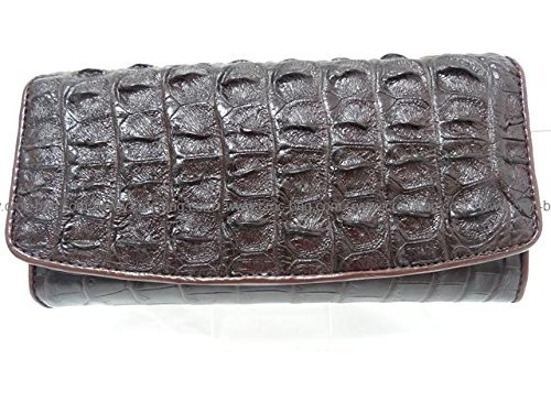 High Quality Siamese Crocodile Leather Pattern Clutch Women Wallet / Purse Trifold for Lady In Brown Made From Back of Crocodile Leather (110n) by - Croc Pattern Leather