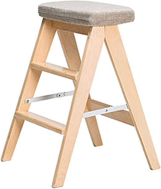 Taburete de cocina taburete plegable de madera maciza escalera de dos pasos escalera de hogar taburete alto taburete silla creativa silla plegable multi-estilo opcional tamaño 48 * 40 * 62.5cm: Amazon.es: Hogar