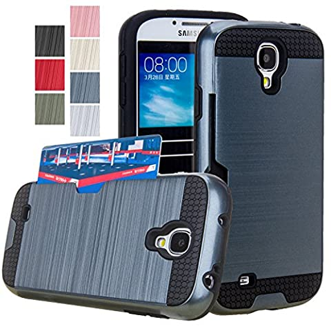 Galaxy S4 Case, AnoKe [Credit Card Slots Holder][Not Wallet] Hard Silicone Rubber Hybrid Armor Shockproof Protective Holster Cover Case For Samsung Galaxy S4 - KLS Metal (Galaxy S4 Cases With Card Holder)