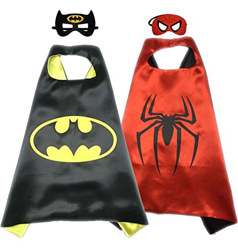 Mens Spiderman Costumes Mask (Superhero Costume Super Hero Cape And Mask Dress Up 2 Set For Kids (Batman-Spiderman))