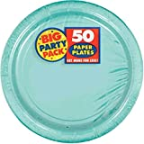 Amscan AMI 650013.121 Amscan Robbins Egg Blue Big Party Pack Dinner Plates (50 Count), 1, blue
