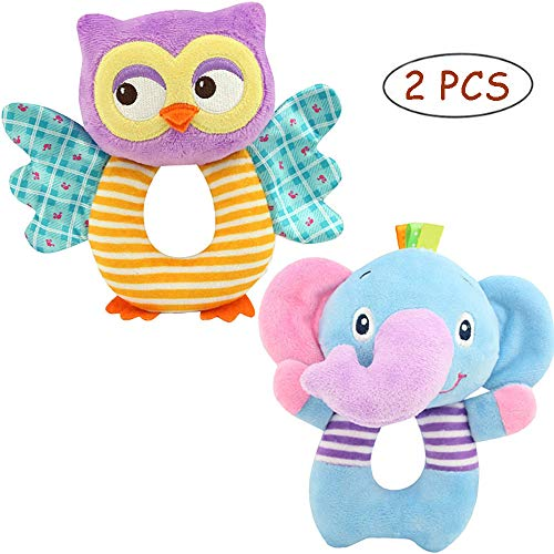 FOREAST Hand Grasp Baby Rattles Toys Soft Animal Doll 2 Pcs Set (Elephant and Owl) Newborn Gift for 0-3 Years Boys / Girls